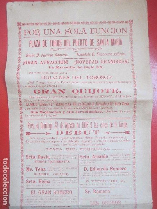 Carteles Espectáculos: CARTEL ESPECTACULO PUERTO DE SANTA MARIA 1908 LA FLECHA HUMANA GRAN QUIJOTE C78 - Foto 2 - 194695222