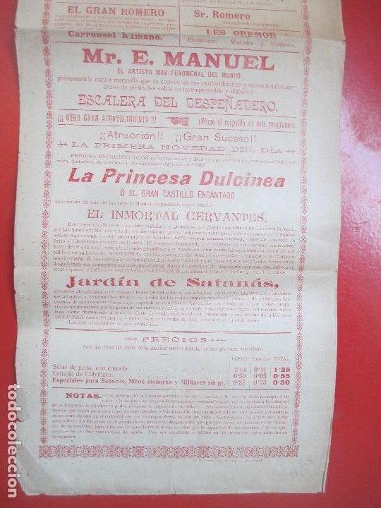 Carteles Espectáculos: CARTEL ESPECTACULO PUERTO DE SANTA MARIA 1908 LA FLECHA HUMANA GRAN QUIJOTE C78 - Foto 3 - 194695222
