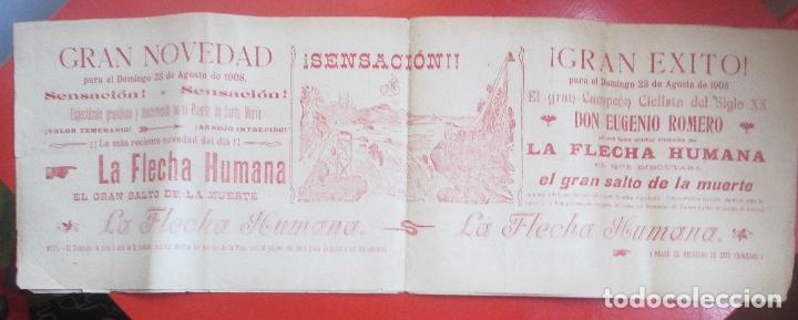 CARTEL ESPECTACULO PUERTO DE SANTA MARIA 1908 LA FLECHA HUMANA GRAN QUIJOTE C78 (Coleccionismo - Carteles Gran Formato - Carteles Circo, Magia y Espectáculos)