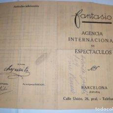 Carteles Espectáculos: CONTRATO FANTASIO 1932 , BARCELONA AGENCIA INTERNACIONAL DE ESPECTÁCULOS (CINE HORTA,EMPRES.). Lote 195048767
