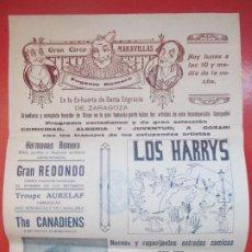 Carteles Espectáculos: CARTEL CIRCO GRAN CIRCO MARAVILLAS ZARAGOZA HERMANOS RIQUELME EL TONTO SALVA C83. Lote 195099013