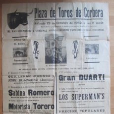 Carteles Espectáculos: CARTEL CIRCO PLAZA TOROS CORBERA VALENCIA 1962 SABINA ROMERO MOTORISTA TORERO C87. Lote 195290456