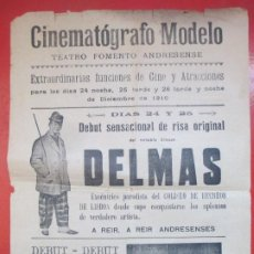 Carteles Espectáculos: CARTEL CINEMATOGRAFO MODELO TEATRO ANDRESENSE 1910 DELMAS LOS ARGENTINOS C90. Lote 195291148