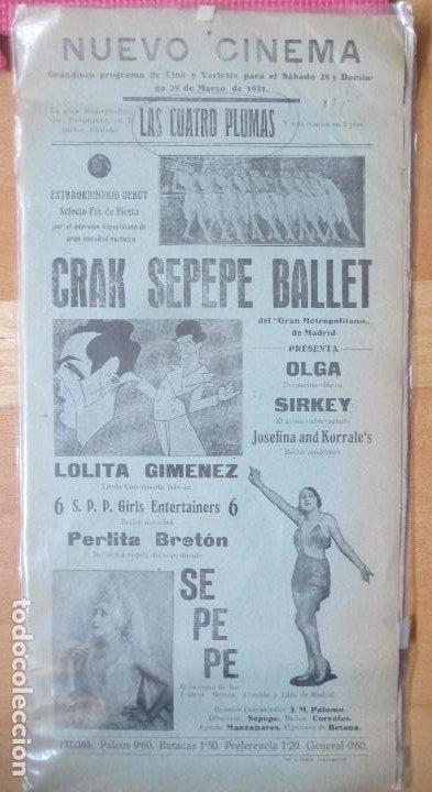 CARTEL NUEVO CINEMA 1931 LAS CUATRO PLUMAS CRAK SEPEPE BALLET C91 (Coleccionismo - Carteles Gran Formato - Carteles Circo, Magia y Espectáculos)
