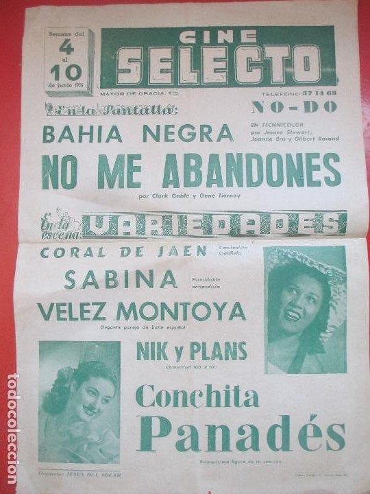 CARTEL CINE SELECTO 1956 BAHIA NEGRA NO ME ABANDONES CLARK GABLE VARIEDADES C92 (Coleccionismo - Carteles Gran Formato - Carteles Circo, Magia y Espectáculos)