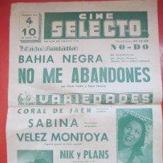 Carteles Espectáculos: CARTEL CINE SELECTO 1956 BAHIA NEGRA NO ME ABANDONES CLARK GABLE VARIEDADES C92. Lote 195291532