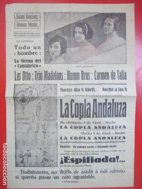 Carteles Espectáculos: CARTEL CINE TEATRO GUIMERA GARY COOPER Y FAY WRAY LA SIRENA DEL CANTABRICO LES OTTO C94 - Foto 2 - 195291852
