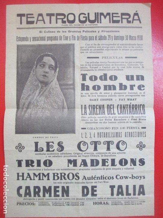 CARTEL CINE TEATRO GUIMERA GARY COOPER Y FAY WRAY LA SIRENA DEL CANTABRICO LES OTTO C94 (Coleccionismo - Carteles Gran Formato - Carteles Circo, Magia y Espectáculos)