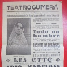 Carteles Espectáculos: CARTEL CINE TEATRO GUIMERA GARY COOPER Y FAY WRAY LA SIRENA DEL CANTABRICO LES OTTO C94. Lote 195291852