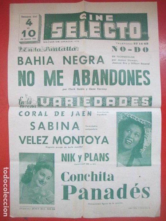 CARTEL CINE SELECTO BARCELONA BAHIA NEGRA NO ME ABANDONES CLARK GABLE VARIEDADES CORAL DE JAEN C95 (Coleccionismo - Carteles Gran Formato - Carteles Circo, Magia y Espectáculos)
