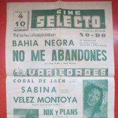 Carteles Espectáculos: CARTEL CINE SELECTO BARCELONA BAHIA NEGRA NO ME ABANDONES CLARK GABLE VARIEDADES CORAL DE JAEN C95. Lote 195292052