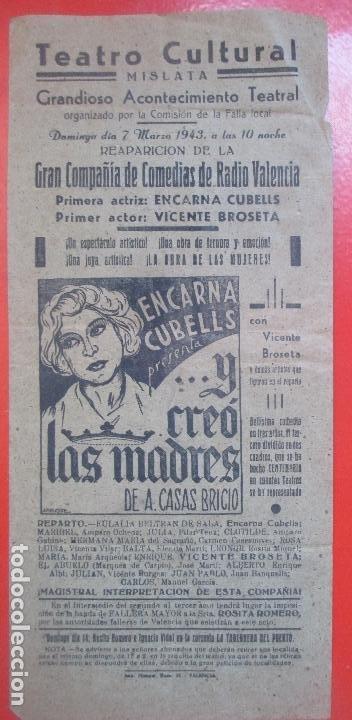 CARTEL TEATRO CULTURAL MISLATA VALENCIA 1943 ENCARNA CUBELLS VICENTE BROSETA C96 (Coleccionismo - Carteles Gran Formato - Carteles Circo, Magia y Espectáculos)