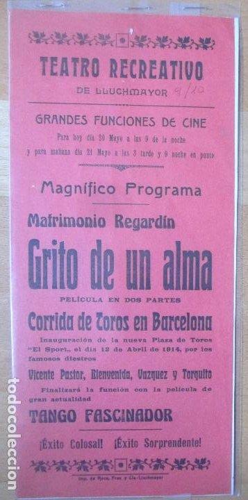CARTEL TEATRO RECREATIVO LLUCHMAYOR MALLORCA 1914 MATRIMONIO REGARDIN GRITO DE UN ALMA C97 (Coleccionismo - Carteles Gran Formato - Carteles Circo, Magia y Espectáculos)