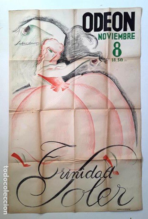 CARTEL ORIGINAL LITOGRAFICO TRINIDAD SOLER - COMPAÑIA ESPAÑOLA DE DANZAS. 1938 TEATRO CASTAÑUELAS (Coleccionismo - Carteles Gran Formato - Carteles Circo, Magia y Espectáculos)