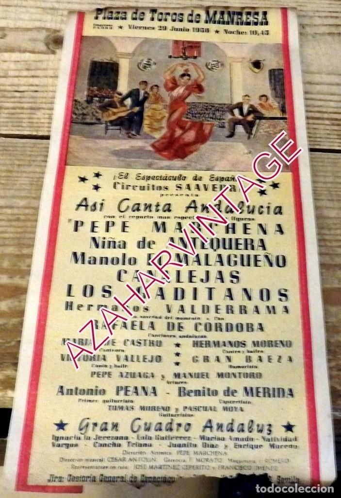 MANRESA, 1956, CARTEL ESPECTACULO FLAMENCO, PEPE MARCHENA,CANALEJAS, NIÑA DE ANTEQUERA,ETC.. (Coleccionismo - Carteles Gran Formato - Carteles Circo, Magia y Espectáculos)