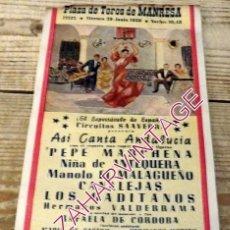 Carteles Espectáculos: MANRESA, 1956, CARTEL ESPECTACULO FLAMENCO, PEPE MARCHENA,CANALEJAS, NIÑA DE ANTEQUERA,ETC... Lote 195715971