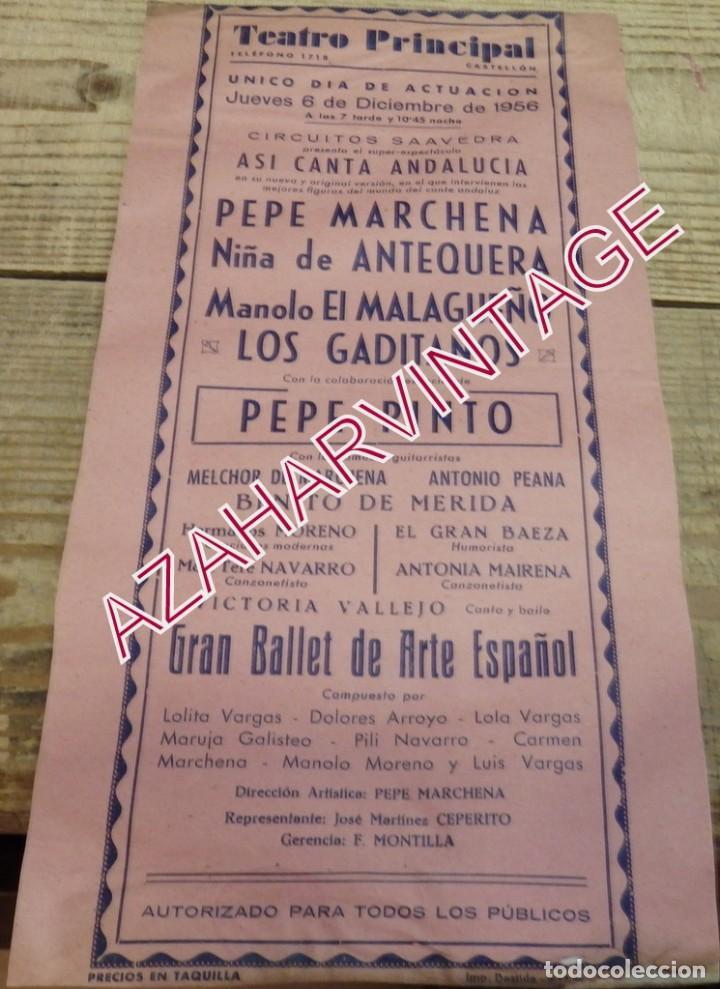 CASTELLON, 1956, TEATRO PRINCIPAL, CARTEL FLAMENCO, PEPE MARCHENA, NIÑA DE ANTEQUERA, PEPE PINTO (Coleccionismo - Carteles Gran Formato - Carteles Circo, Magia y Espectáculos)