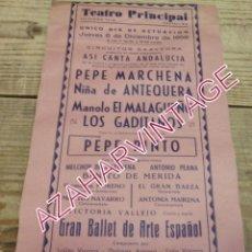 Carteles Espectáculos: CASTELLON, 1956, TEATRO PRINCIPAL, CARTEL FLAMENCO, PEPE MARCHENA, NIÑA DE ANTEQUERA, PEPE PINTO. Lote 195720741