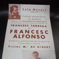 Carteles Espectáculos: 1935 CARTEL ANIVERSARIO MUERTE DE FRANCESC TARREGA POR F. ALFONSO - CONCIERTO GUITARRA BARCELONA. Lote 196170477