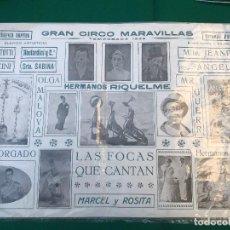 Carteles Espectáculos: AT50- CARTEL PUBLICITARIO, GRAN CIRCO MARAVILLAS, 1935, HERMANOS RIQUELME, MARCEL Y ROSITA, BERMUDEZ. Lote 196454223