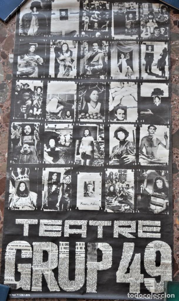 CARTEL ORIGINAL TEATRE GRUP49 DE VALENCIA AÑO 1975 - TAMAÑO 42,5 X 81,5 CM (Coleccionismo - Carteles Gran Formato - Carteles Circo, Magia y Espectáculos)