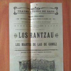 Carteles Espectáculos: 1902 TEATRO ATENEO DE SANS , BARCELONA- LOS RANTZAU / LO COMTE L ´ARNAU. Lote 197294687