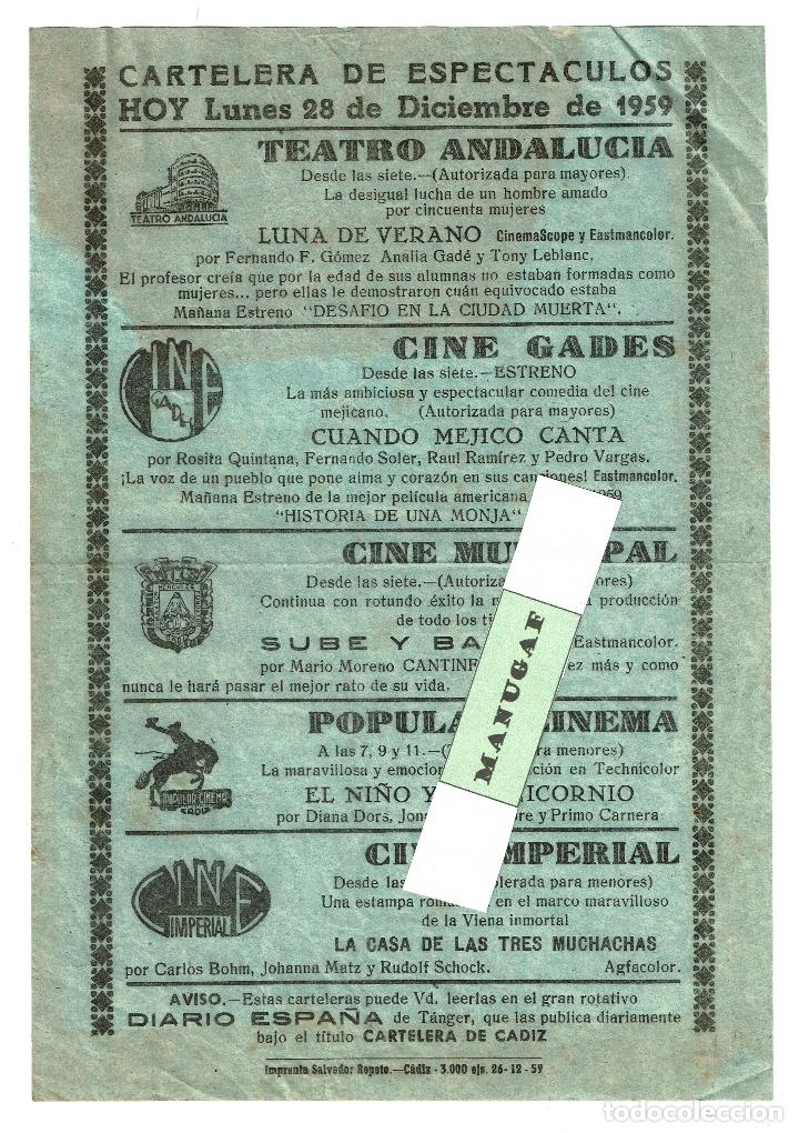 CARTELERA ESPECTÁCULOS CADIZ 28-12-1959 20X14,50 CM. TEATRO ANDALUCIA CINE MUNICIPAL GADES ETC (Coleccionismo - Carteles Gran Formato - Carteles Circo, Magia y Espectáculos)