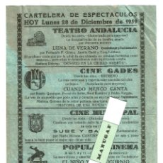 Carteles Espectáculos: CARTELERA ESPECTÁCULOS CADIZ 28-12-1959 20X14,50 CM. TEATRO ANDALUCIA CINE MUNICIPAL GADES ETC. Lote 198474643