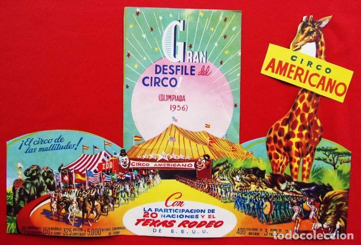 Carteles Espectáculos: CIRCO AMERICANO. TRÍPTICO TROQUELADO. AÑO: 1956. - Foto 2 - 199862541