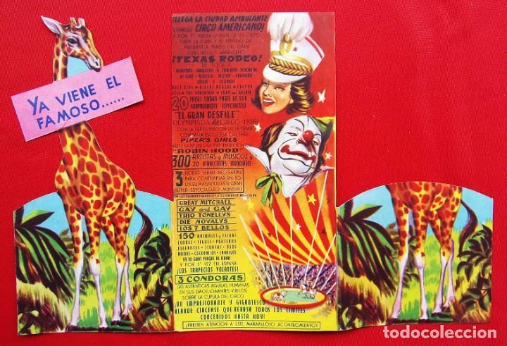 Carteles Espectáculos: CIRCO AMERICANO. TRÍPTICO TROQUELADO. AÑO: 1956. - Foto 3 - 199862541