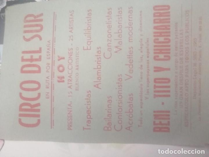 PUBLICIDAD CIRCO DEL SUR (Coleccionismo - Carteles Gran Formato - Carteles Circo, Magia y Espectáculos)