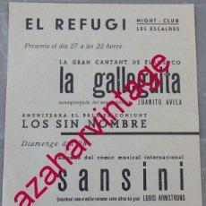 Carteles Espectáculos: LES ESCALDES . VALLS DE ANDORRA, AÑOS 60, CARTEL FLAMENCO, LA GALLEGUITA . 15X21 CMS. Lote 200239990
