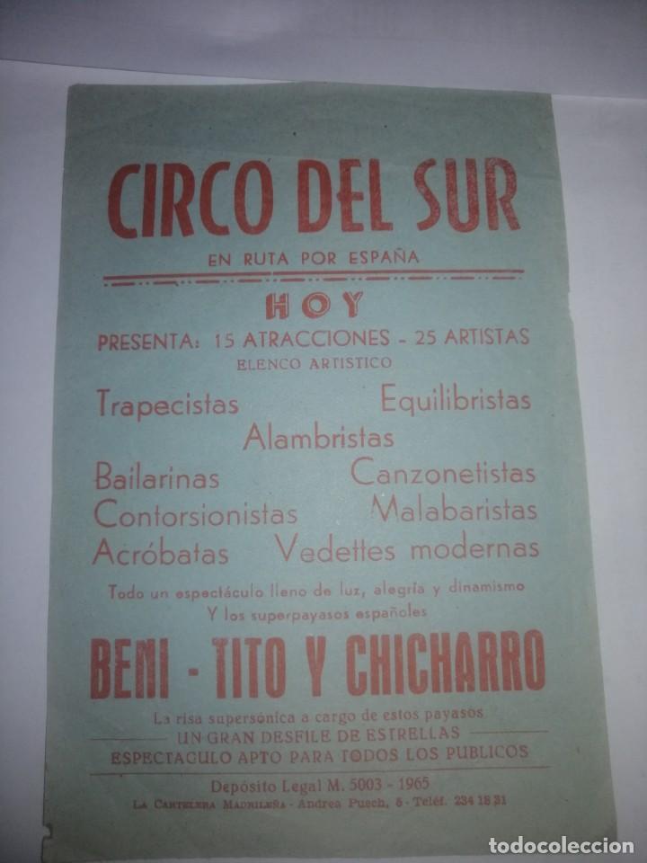 PROGRAMA DE MANO CIRCO DEL SUR (Coleccionismo - Carteles Gran Formato - Carteles Circo, Magia y Espectáculos)