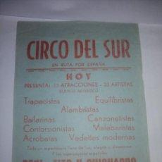 Carteles Espectáculos: PROGRAMA DE MANO CIRCO DEL SUR. Lote 200388561