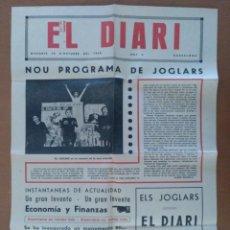 Carteles Espectáculos: CARTEL RPROGRAMA TEATRO EL DIARI ELS JOGLARS ALIANÇA POBLENOU 1968. Lote 201184498