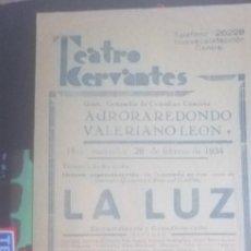 Carteles Espectáculos: CARTEL TEATRO CERVANTES AÑOS 1934. Lote 201914697