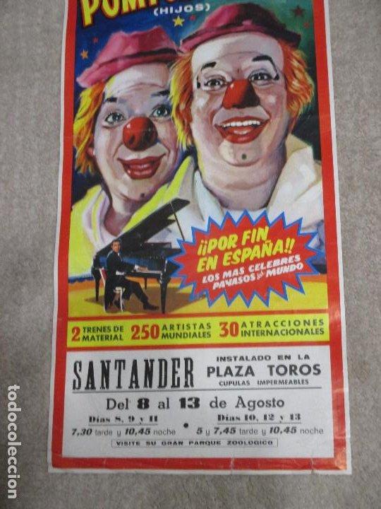 Carteles Espectáculos: Cartel Circo Price, Pompoff y Thedy hijos Festival Mundial del Circo 1972, Santander 26,5x63,5 cm - Foto 3 - 203815371