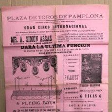Carteles Espectáculos: CARTEL PLAZA TOROS PAMPLONA. GRAN CIRCO INTERNACIONAL. 13 DE JULIO DE 1911. Lote 207492151