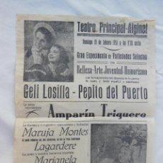 Carteles Espectáculos: VARIEDADES SELECTAS. ALGINET 1951. GELI LOSILLA, PEPITO DEL PUERTO, AMPARÍN TRIGUERO, MARUJO MONES... Lote 210116995