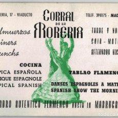 Carteles Espectáculos: TABLAO FLAMENCO. CORRAL DE LA MORERÍA.(MADRID) COCINA ESPAÑOLA. CARTEL CARTÓN DURO PUBLICIDAD.28X21. Lote 211919160
