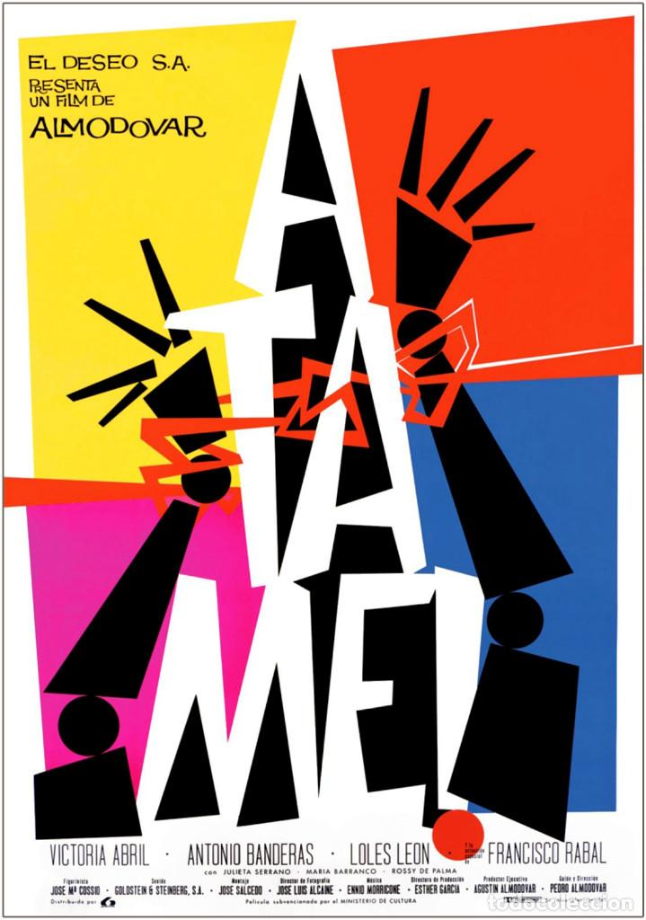 Carteles Espectáculos: ÁTAME 1989. PEDRO ALMODÓVAR. CARTEL CINE GRAN FORMATO 100x69cm - Foto 3 - 212396971