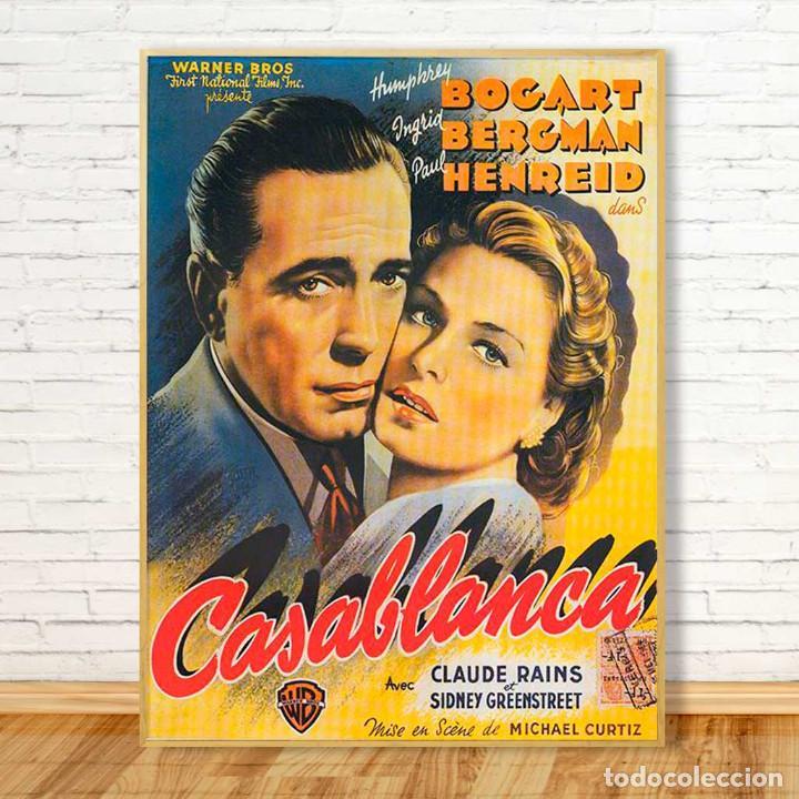 Carteles Espectáculos: CASA BLANCA 1942. BOGART E INGRID BERGMAN. CARTEL CINE GRAN FORMATO 88x68cm. - Foto 2 - 212397868
