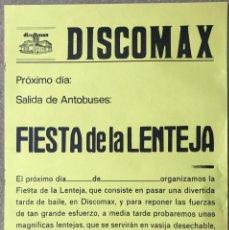 Carteles Espectáculos: CARTEL DISCOTECA DISCOMAX - FIESTA DE LA LENTEJA - ENTRAMBASAGUAS - CANTABRIA - AÑOS 80. Lote 214373421