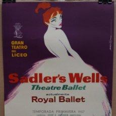 Carteles Espectáculos: CARTEL -SADLER'S WELLS THEATRE BALLET - 1957 - TEATRO LICEO - 53 X 35 CM.. Lote 215125486