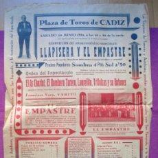 Affiches Spectacles: CARTEL ESPECTACULO PLAZA TOROS CADIZ 1931 LLAPISERA Y EL EMPASTRE EL AS CHARLOT C110. Lote 220233395