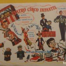 Carteles Espectáculos: ANTIGUO MINI CARTEL.TEATRO CIRCO INFANTIL.CINE EUROPA.MISTER FOIX Y JAIMITO.LISTON Y TOLON.MAGO X.. Lote 221516411
