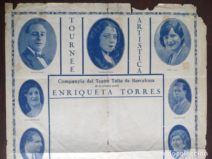 Carteles Espectáculos: Poster de la compañía del Teatre Talia de Barcelona años 10´s con imágenes de su elenco artístico - Foto 3 - 222069252