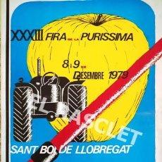 Carteles Espectáculos: GRAN CARTEL PUBLICITARIO SOBRE PAPEL XXXIII - FIRA DE LA PURISSIMA -SANT BOI DE LLOBREGAT -BCN-. Lote 223516358