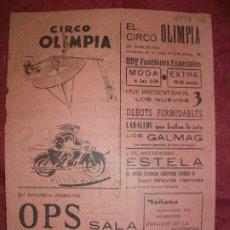 Carteles Espectáculos: 1944 CARTEL DE EL CIRCO OLIMPIA DE BARCELONA MOTOCICLISMO MOTO PAYASO. Lote 226612400