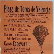 Affiches Spectacles: ESPECTÁCULO CIRCENSE: CAPITÁN ECHEVARRÍA, MLLE EMILIN Y OTROS. VALENCIA, 1907. 64X22 CM. Lote 233374835
